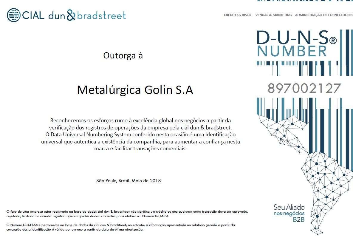 Certificado DUNS Number Golin S/A
